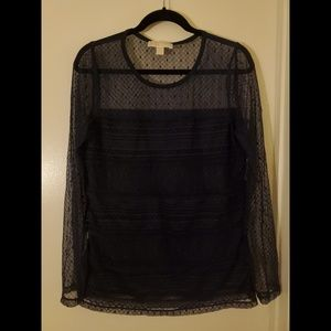 Michael Kors Black Lace Long Sleeve Top Size L New